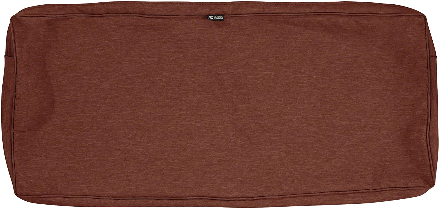 Classic Accessories Montlake Water-Resistant 48 x 18 x 3 Inch Patio Bench/Settee Cushion Slip Cover, Heather Henna Red