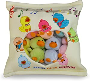 Monsterz Factory Seven Ducky Friends Soft Pillow Bag Plush Toy 7 Ducks, Throw Pillow Stuffed Animal Duck, Creative Learning Toy, Kawaii Cute Ages 2 Years & up