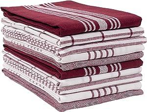 KAF Home Soho Kitchen Dish Towel Set of 10 | 18 x 28 Inch Tea Towels | Soft and Absorbent Mixed Set of Flat Towels (Oxblood)