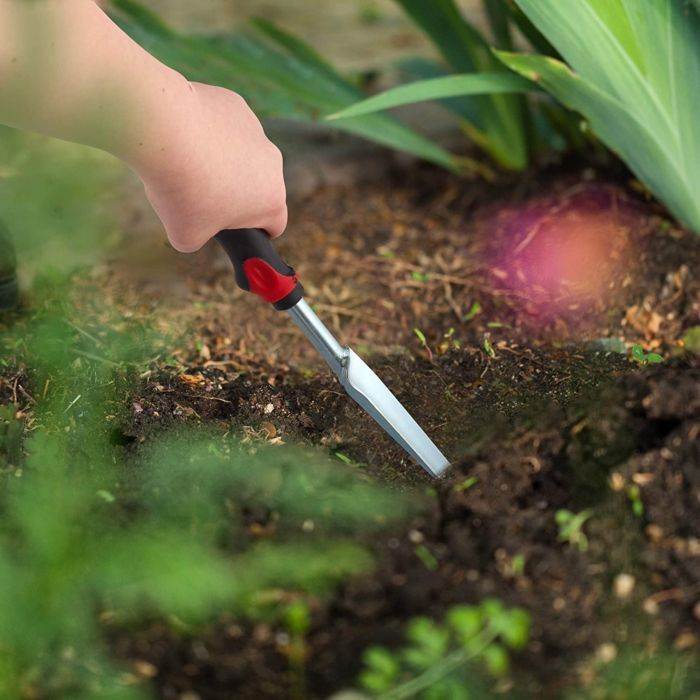 ergonomischer Griff schwarz-rot L: 37,5cm Pflanzenstecher zur effektiven Unkrautentfernung Relaxdays 2 x Unkrautstecher im Set