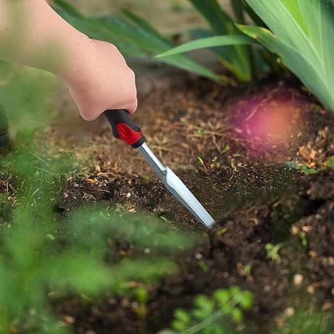 schwarz-rot ergonomischer Griff L: 37,5cm Relaxdays 4 x Unkrautstecher im Set Pflanzenstecher zur effektiven Unkrautentfernung