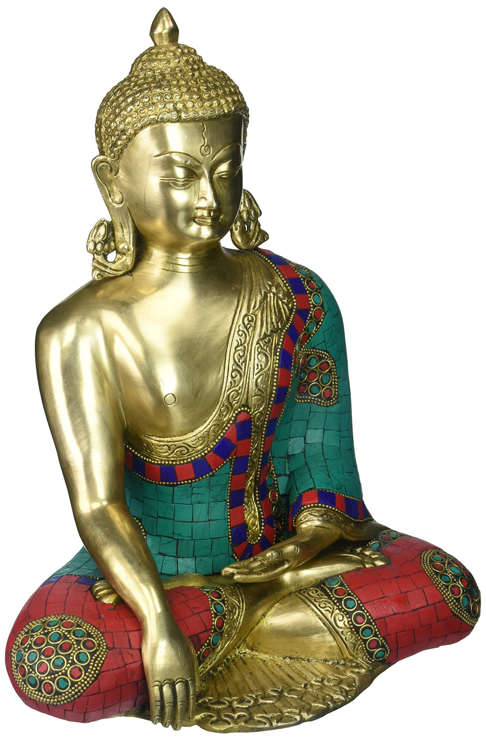 Aone India 12 Inches Large Buddha Idol Buddhism Brass Sculpture Turquoise Earth Touching Buddha + Cash Envelope (Pack Of 10)
