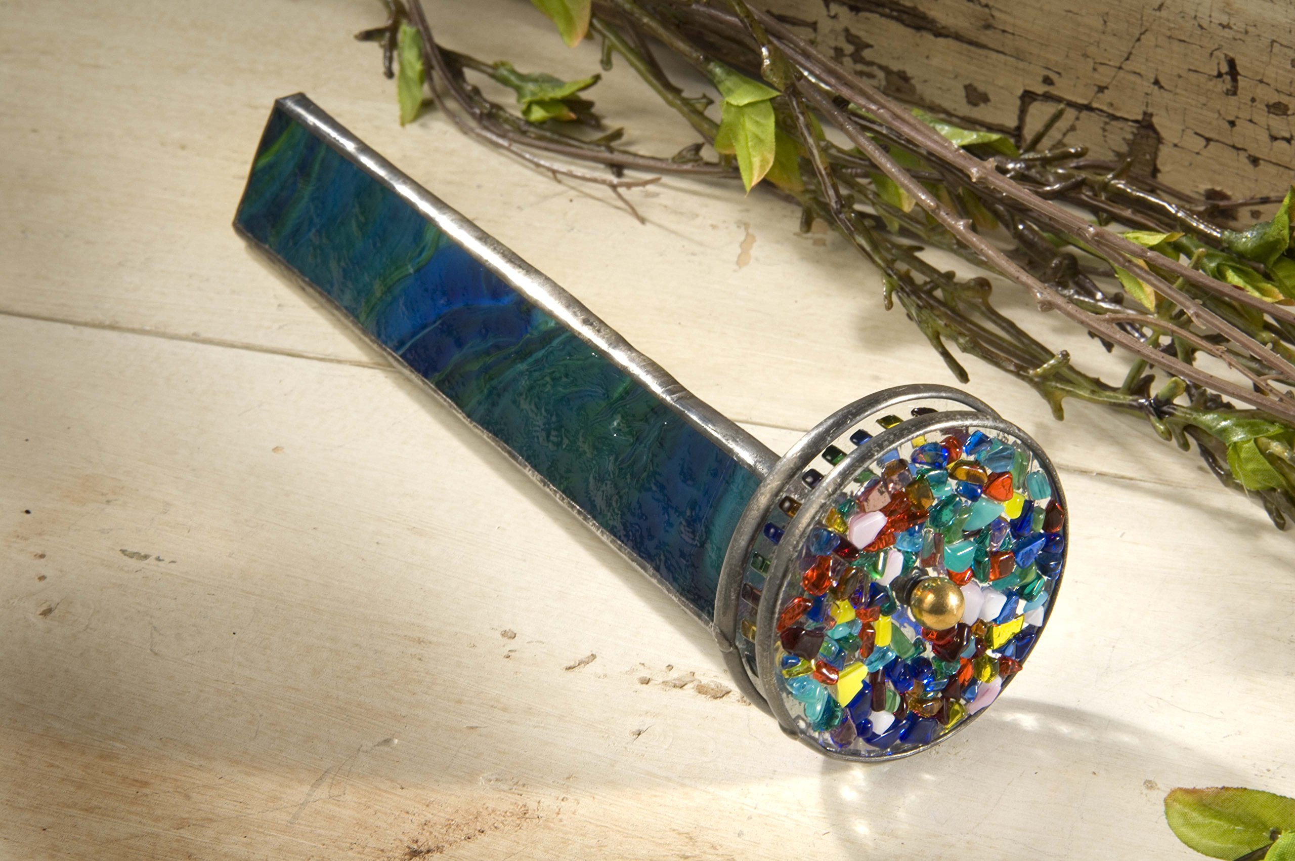 J Devlin Kal 106 Green Stained Glass Kaleidoscope with Two Wheels Gift for Dad Father's Day by J Devlin Glass Art (Image #2)