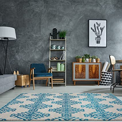 Amazon Ladole Rugs Shaggy Modern Soft Trellis Geometric Bedroom Dining Room Living Carpet Area Rug In Turquoise Ivory 5x8 53 X 76