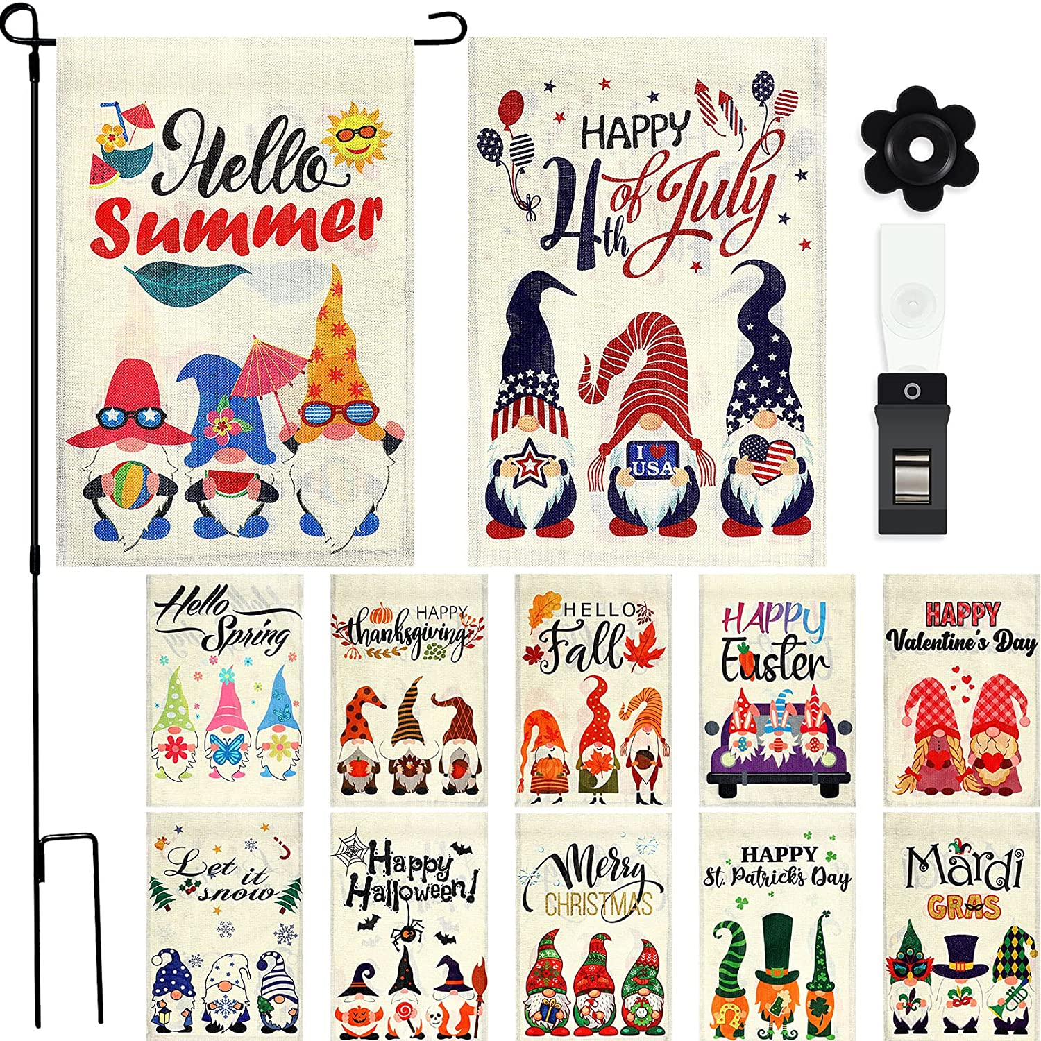 12 Pieces Seasonal Gnome Garden Flag Set Double Sided Holiday House Flag Vertical Decorative Outdoor Flag Welcome Yard Flag with Flag Stopper, Flagpole and Clip for Holiday Decoration, 12 x 18 Inch