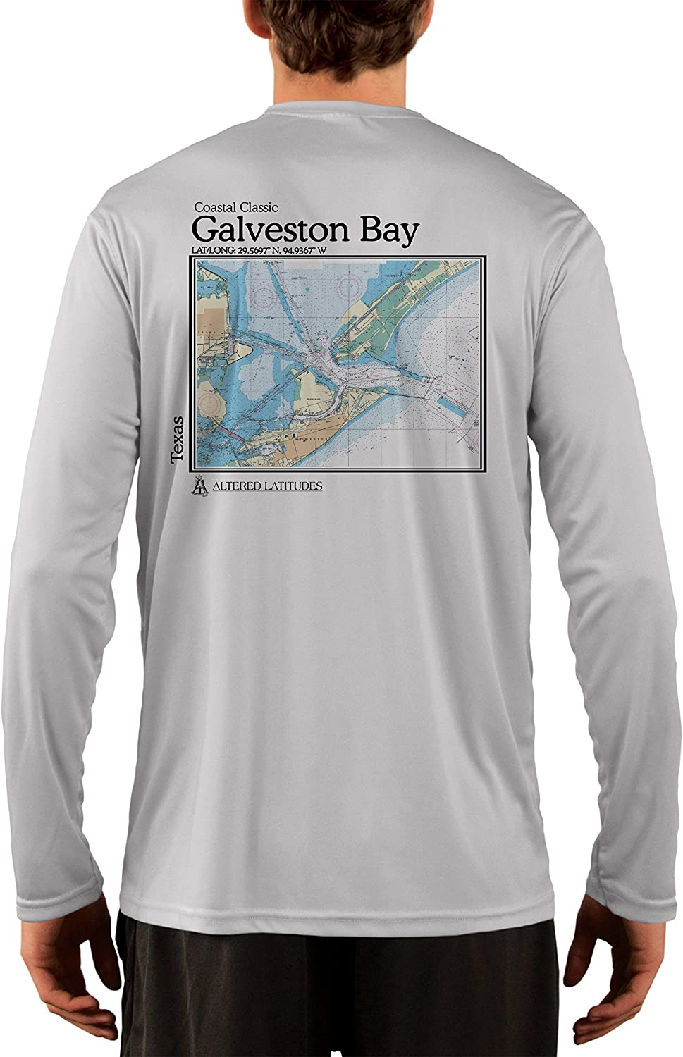 Coastal Classics Galveston Nautical Chart Men's UPF 50+ UV/Sun Protection Long Sleeve T-Shirt