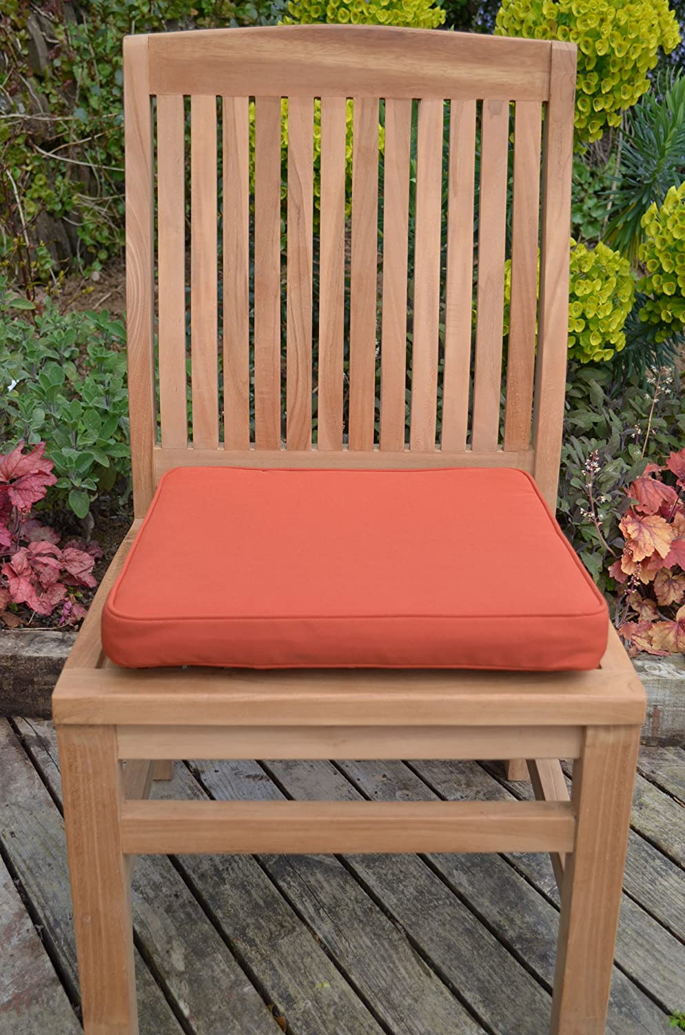 Classic Large Seat Pad Cushion for Indoor/Outdoor Garden Chair (Pack of 2) - Cushions Only - Terracotta Patio Furniture