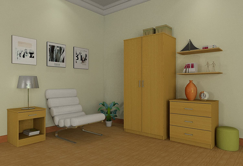 Right Deals UK Panama 3 Piece Bedroom Furniture Sets - Wardrobe, Chest,  Bedside - Beech, Walnut, White Espresso (Beech)