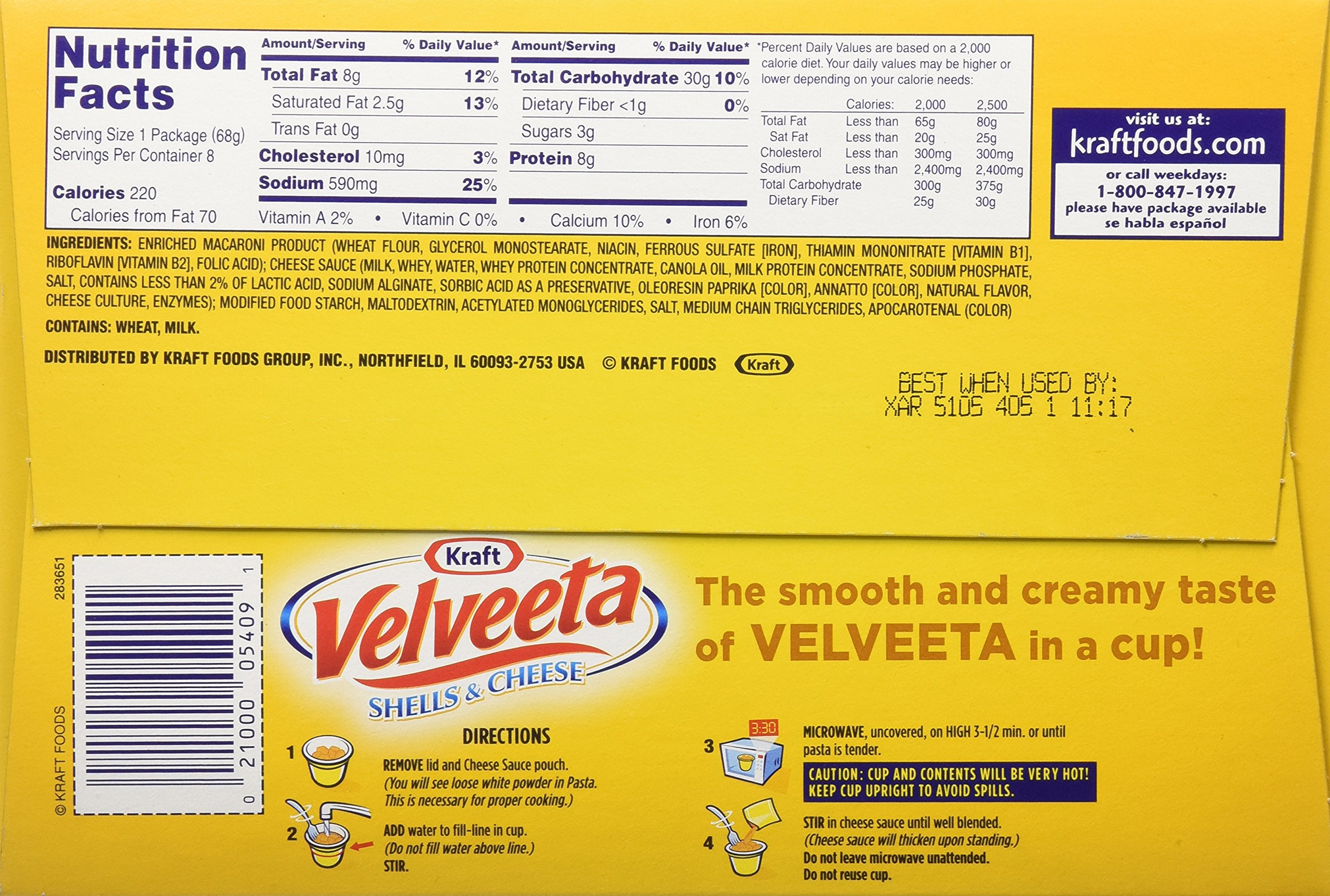 Velveeta Shells and Cheese Original Single Serve Cups, 2.39 Ounce, 8 Count by Velveeta