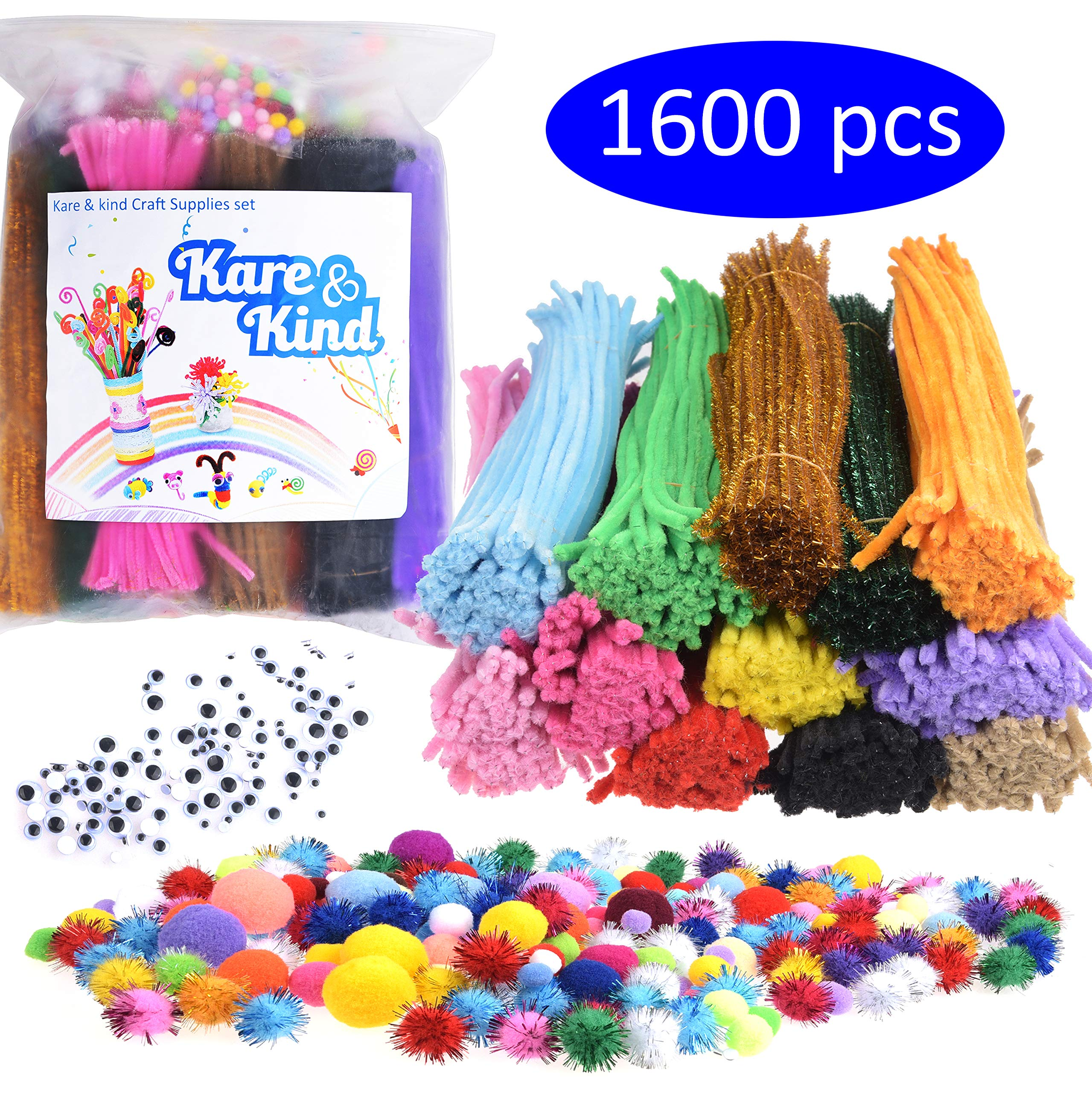 Kare & Kind Craft Supplies Set - 1600 pcs Art Materials - 1000 pcs Colored Pipe Cleaners; 200 pcs Glitter Pipe Cleaners; 200 pcs Colored Pom Poms; 50 pcs Glitter Pom Poms; 150 pcs Wiggle Googly Eyes by Kare Kind