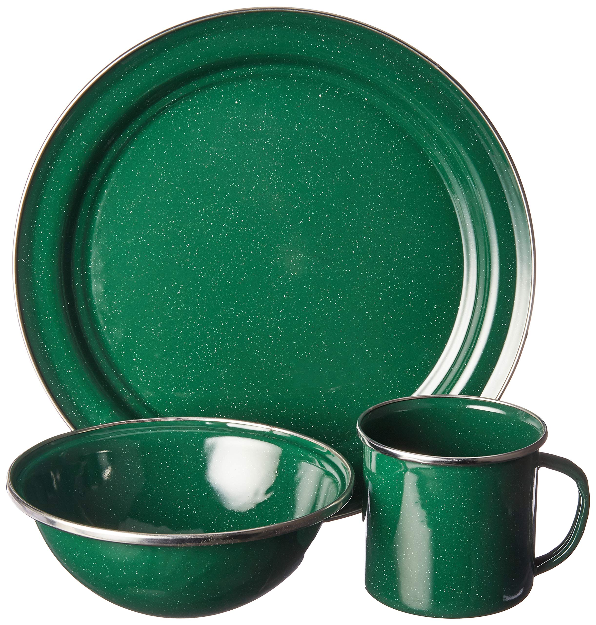 GSI Outdoors 4 Person 25212 Pioneer Table Set Green Enamel - Four person enamelware camp set blends classic style with beautiful blue porcelained finish and brilliant stainless steel rim Heavy glaze; twice kiln-hardened to 1000° F (537.8° C) for superior durability. Enduring steel construction is dishwasher safe and perfectly suited to both indoor and outdoor use. - kitchen-tabletop, kitchen-dining-room, dinnerware-sets - 91iZLQ1IcxL -