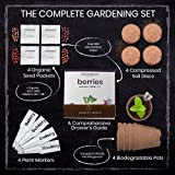 Nature's Blossom Fruit Growing Kit. Grow 4 Types of Berries from Seed: Raspberries, Blueberries, Goji Berry, Blackberries Organic Seeds, Pots, Seed Starting Soil, Markers, Gardening Guide