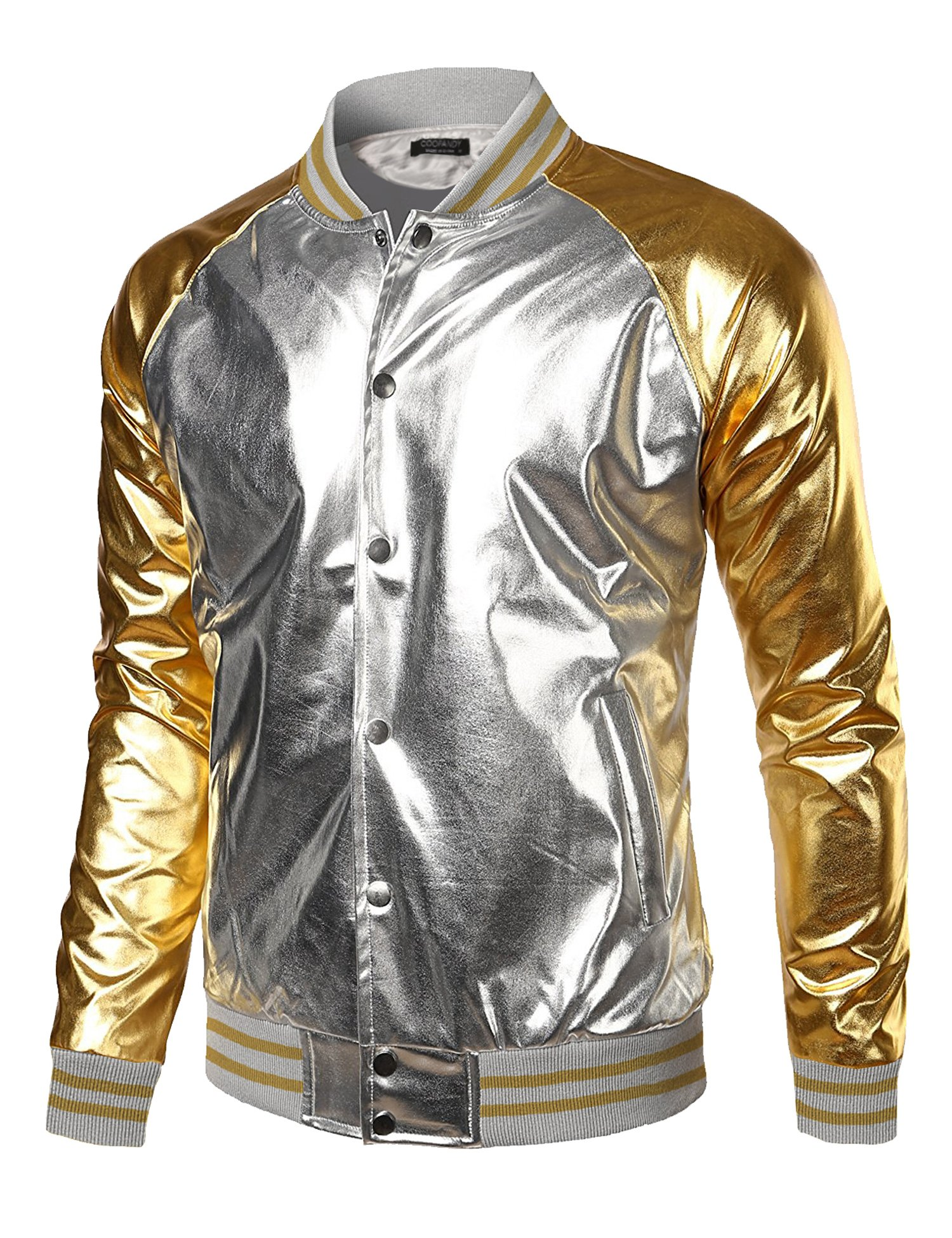 Coofandy Mens Metallic Nightclub Styles Zip Up Varsity Raglan Baseball Bomber Jacket,Silver(button Type),Medium