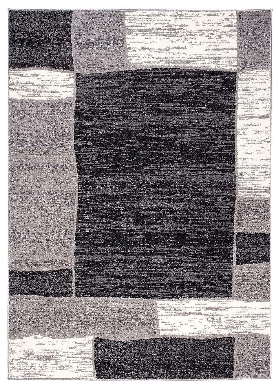 Tapiso Designer Teppich Wohnzimmer Meliert Bordüre in Grau Beige 250 x 350 cm