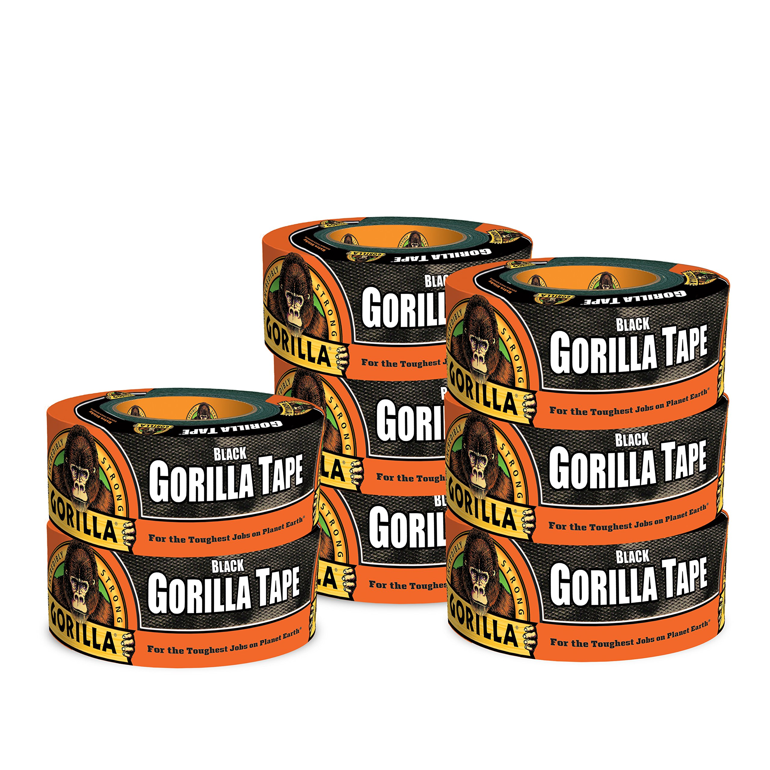 Gorilla Tape, Black Duct Tape, 1.88'' x 12 yd, Black, (Pack of 8)