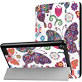 Fire 7 Case(7th Generation, 2017 Release), iThrough® Lightweight Slim Shell, Tri-fold Stand Case Folding Cover for Amazon Fire 7 Tablet with Auto Wake/ Sleep(Butterfly)