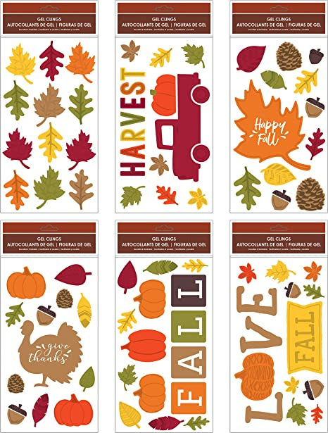 """B-THERE Bundle of Harvest Fall Thanksgiving 5.5/"""" x 12/"""" Window Gel Clings..."""