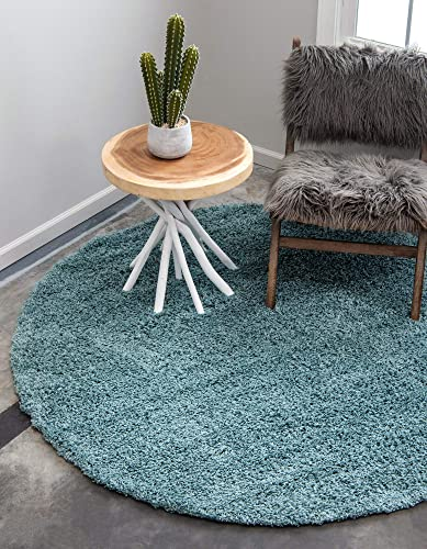 Unique Loom Solo Solid Shag Collection Modern Plush Light Slate Blue Round Rug 8 2 x 8 2