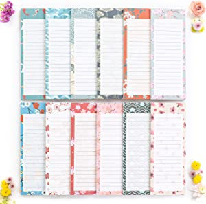 """Peach Tree Shade Magnetic Notepads, 12-Pack 60 Sheets Per Pad 3.5"""" x 9"""", for Fridge, Kitchen, Shopping, Grocery, To-Do List, Memo, Reminder, Note, Book, Stationery, (OrigamiNotes Waves & Flowers)"""