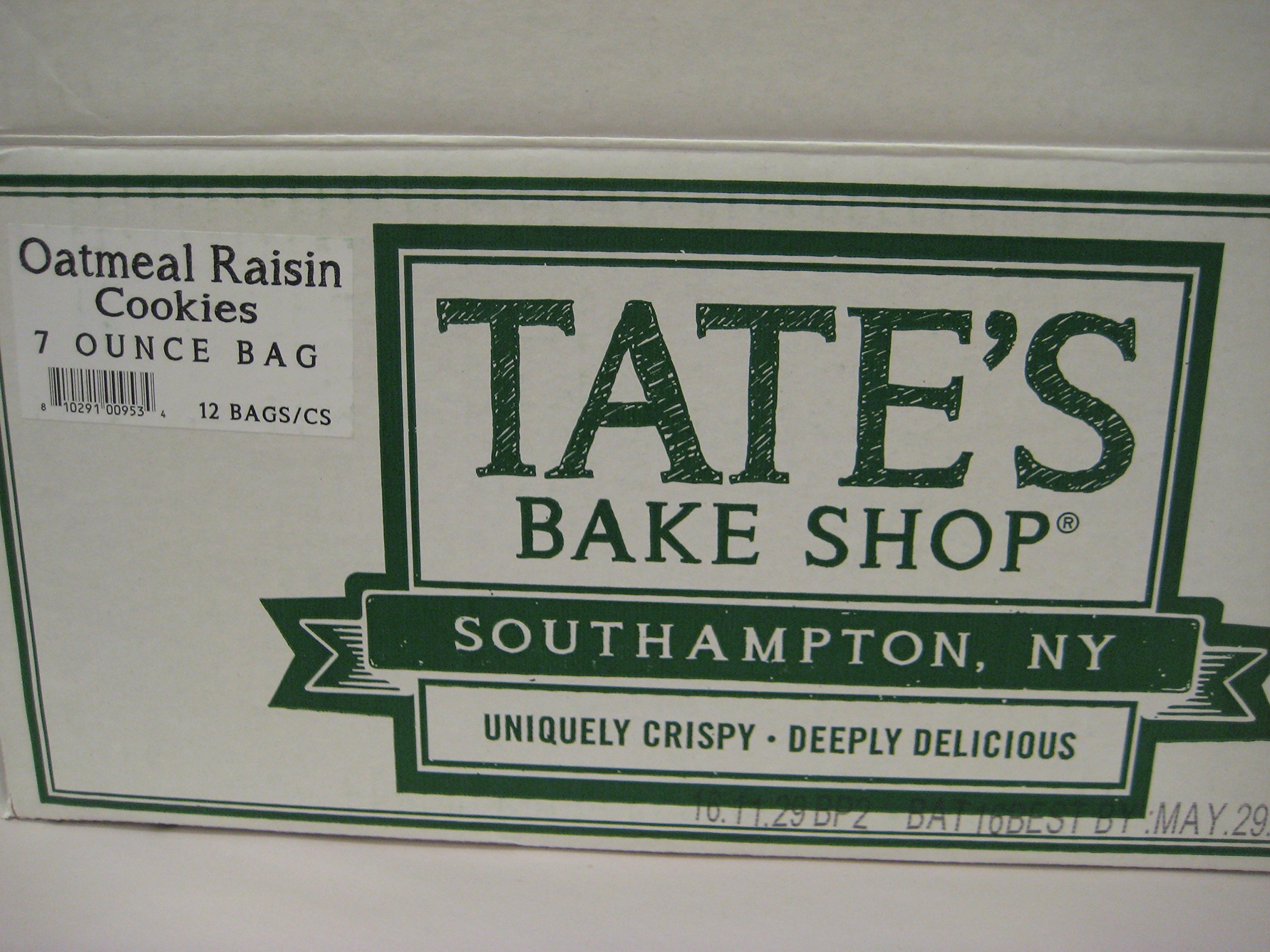 Tate's Bake Shop Oatmeal Raisin Cookies, Sold By The Case. (12)- 7oz Bags in each case. Made in Southampton N.Y