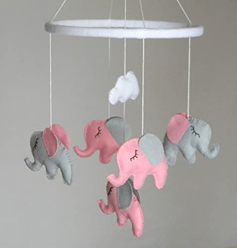 Amazoncom Baby Crib Mobile Baby Girl Mobile Elephant Mobile - Pink and grey nursery decor