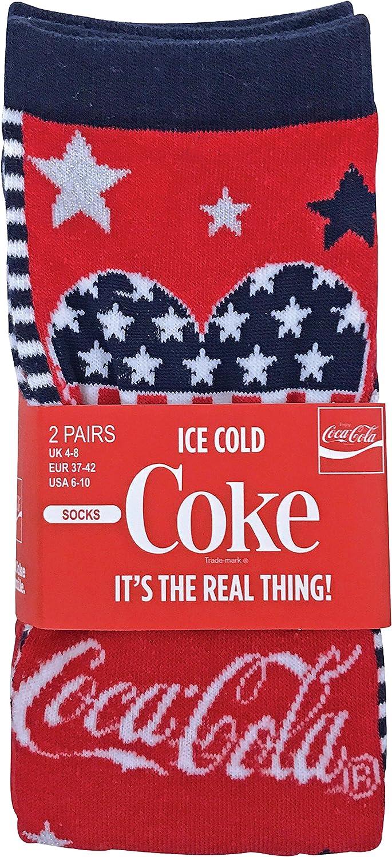 Coca-Cola 2 Paia Donna Morbidi Disegni Fantasia Traspirante Estivi Cotone Calzini//Calze con Strisce e Stelle e Logo