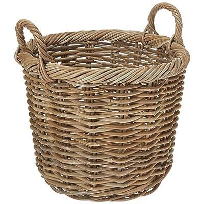 Kouboo Kobo Rattan Round Planter, Gray Decorative Storage Basket: Home & Kitchen