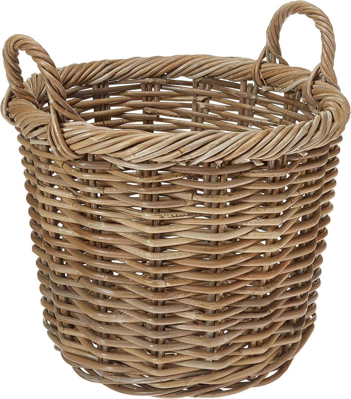 Kouboo Kobo Rattan Round Planter, Gray Decorative Storage Basket