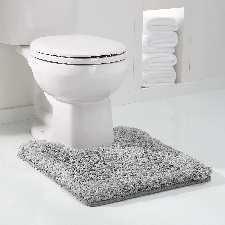 "Genteele Non-Slip Memory Foam Contour Shaggy Bathroom Mat, Water Absorbent, Super Plush Bath Mat, Washable Bathroom Rug, 20"" X 24"" U-Shaped, Gray"
