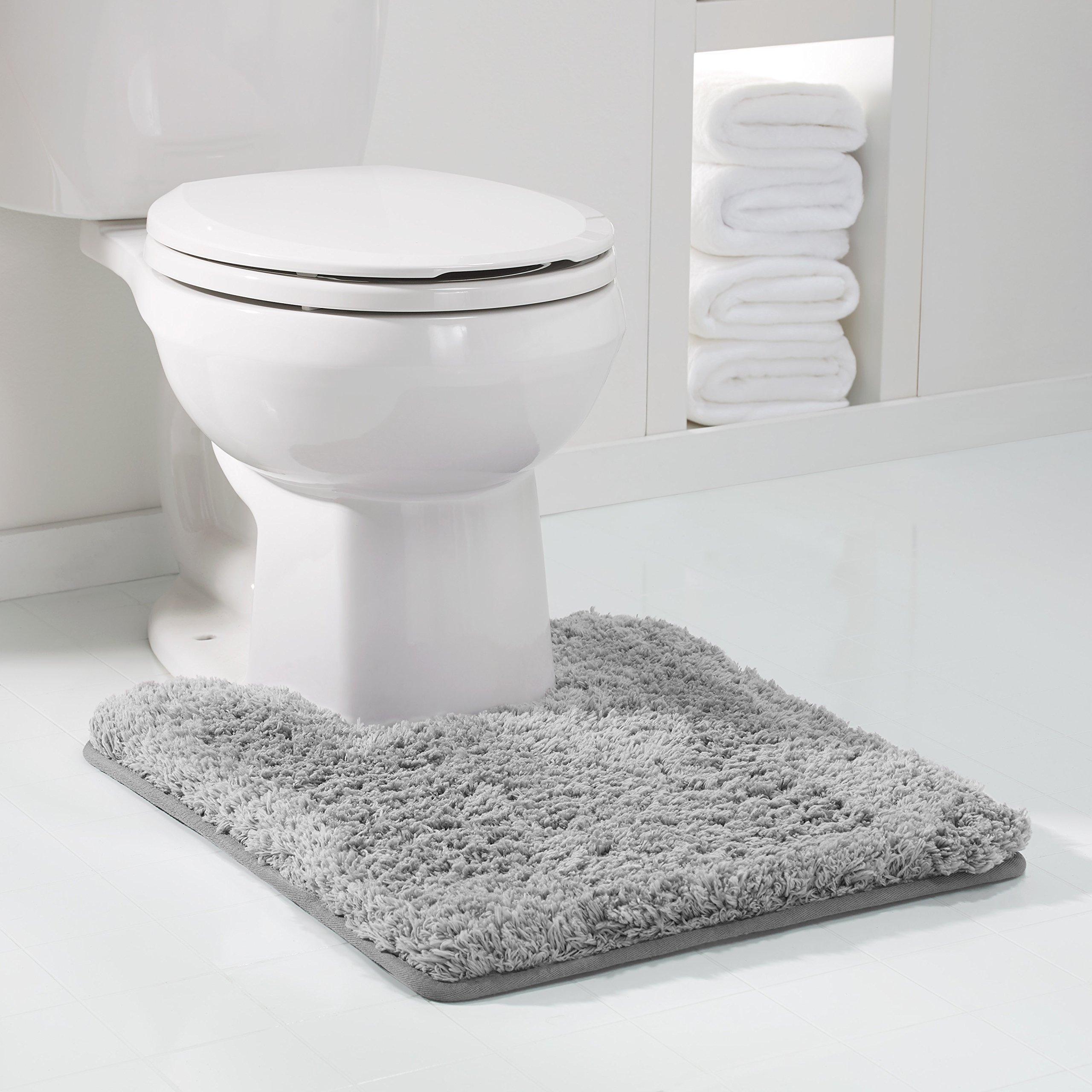 Genteele Non-Slip Memory Foam Contour Shaggy Bathroom Mat, Water Absorbent, Super Plush Bath Mat, Washable Bathroom Rug, 20'' X 24'' U-Shaped, Gray
