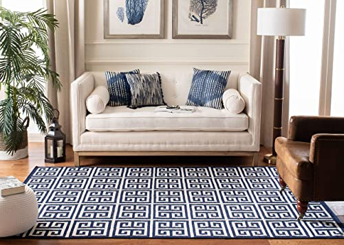 Safavieh Dhurries Collection DHU626D Hand Woven Navy and Ivory Premium Wool Area Rug 5 x 8