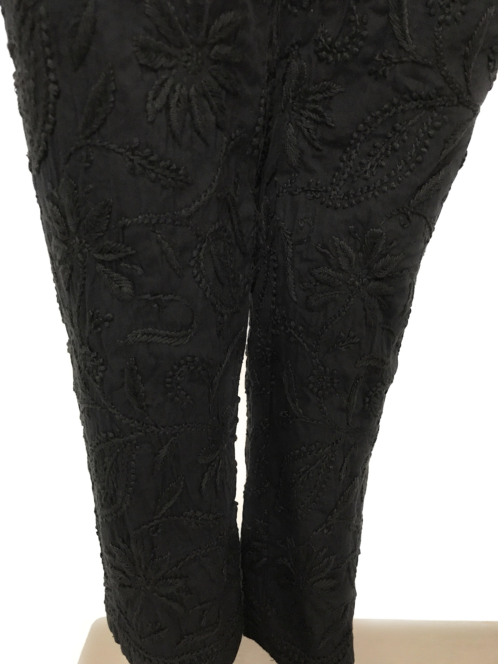 Lucknow Chikan-kari stretchable cotton leggings,narrow pants/Comfortable ankle length narrow pants leggings Black/Hand embroidered leggings/One size fits most (Black)