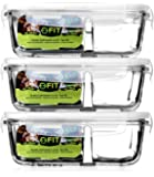 Glass Meal Prep Containers with Lids (3 Pack) - 2 Compartment Food Prep Containers + Vented Snap Locking Lids | Portion Control | Glass Tupperware | Food Storage Containers | Bento Box | Leakproof