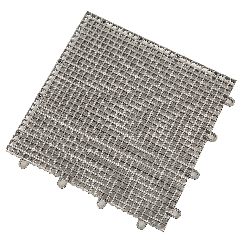 9 Pack IncStores Outdoor Patio Interlocking Rugged Grip-Loc Tiles Grey