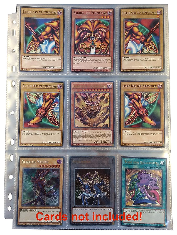 Sammelalbum f/ür Ordner-Seiten // 9-Pocket Pages z.B f/ür Magic Arkero-G/® 3-Ring Collectors Album Schwarz // Black Yugioh Karten Pokemon