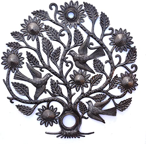 Haiti Tree of Life Wall Plaque, Decorative Metal Tree, Wall Decor Haitian Hanging Art, Indoor or Outdoor Decoration, Handmade in Haiti, NO Machines Used, 24 in. x 24 in. Sunflower Tree