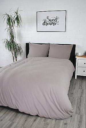 Biber Bettwäsche übergröße 155x220 Cm Uni 100 Baumwolle