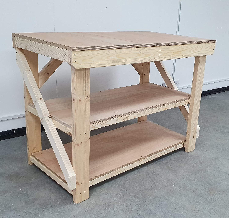 4ft With Double Shelf Wooden Workbench 18mm Eucalyptus Hardwood Ply Top