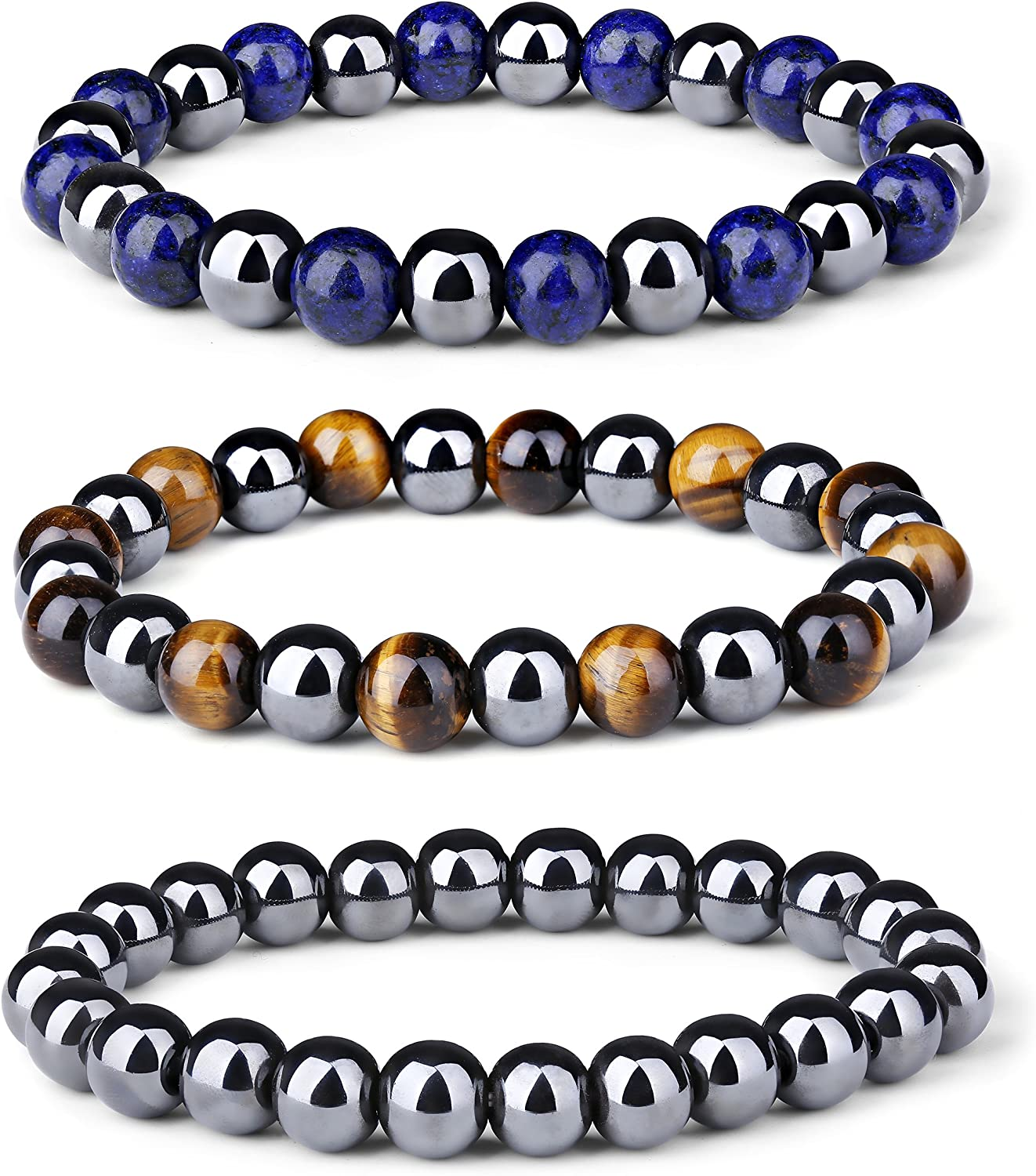 LOYALLOOK 3Pcs Magnetic Hematite Therapy Beads Bracelet Men Women Healing Energy Natural Stone Adjustable Bracelet Tiger Eye Stone