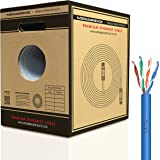 Mediabridge Pure Copper Cat6 Cable (500 Feet, Blue) - 10Gbps Ethernet, Solid, In-Wall Rated, w/ Premium Snagless Pull-Out Box - (Part# C6-500-BLUE)