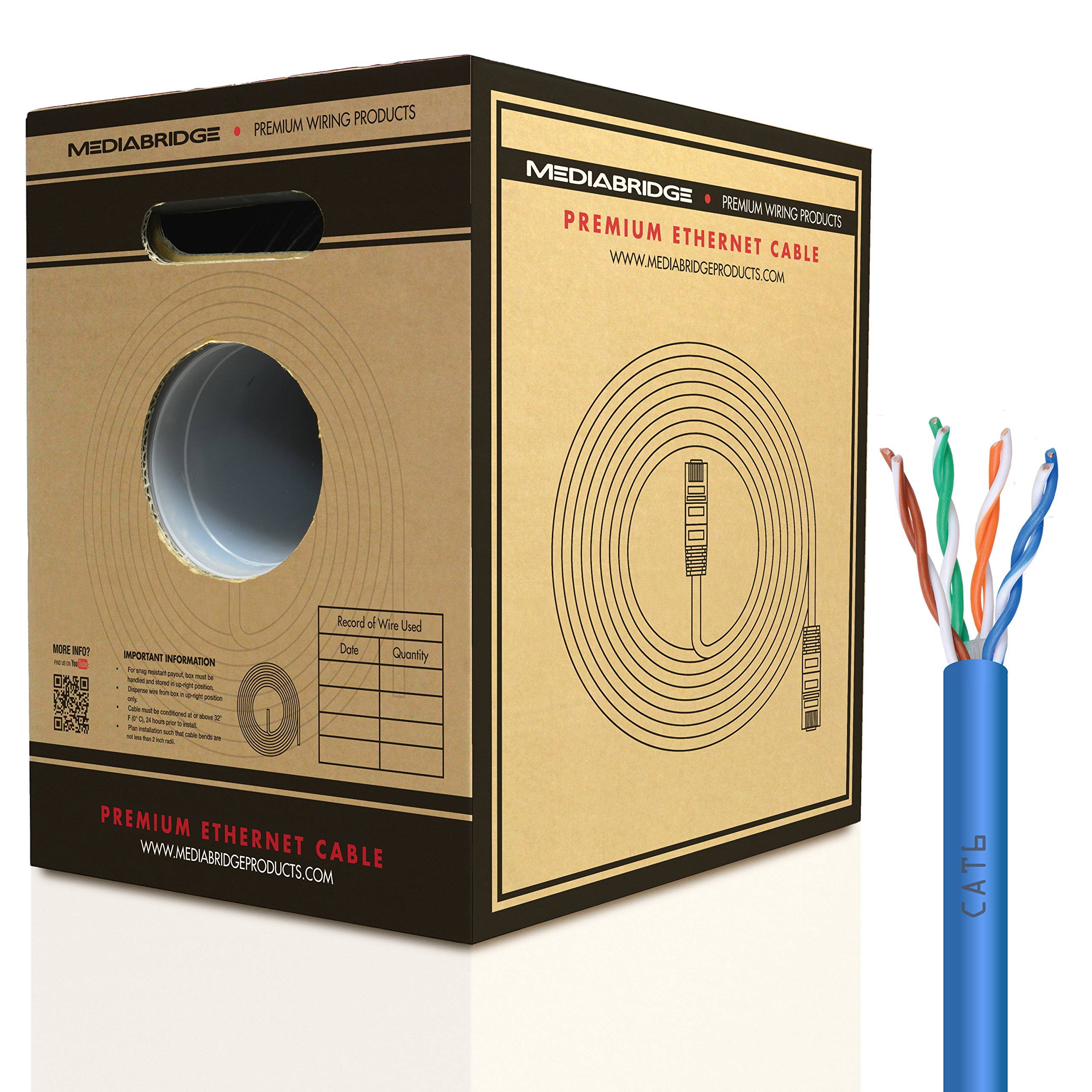 Mediabridge Pure Copper Cat6 Cable (500 Feet, Blue) - 10Gbps Ethernet, Solid, In-Wall Rated, w/Premium Snagless Pull-Out Box - (Part# C6-500-BLUE)