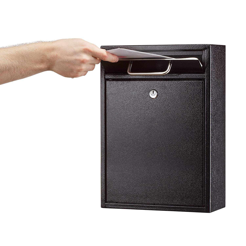 Adiroffice Locking Black Large Drop Box Wall Mounted