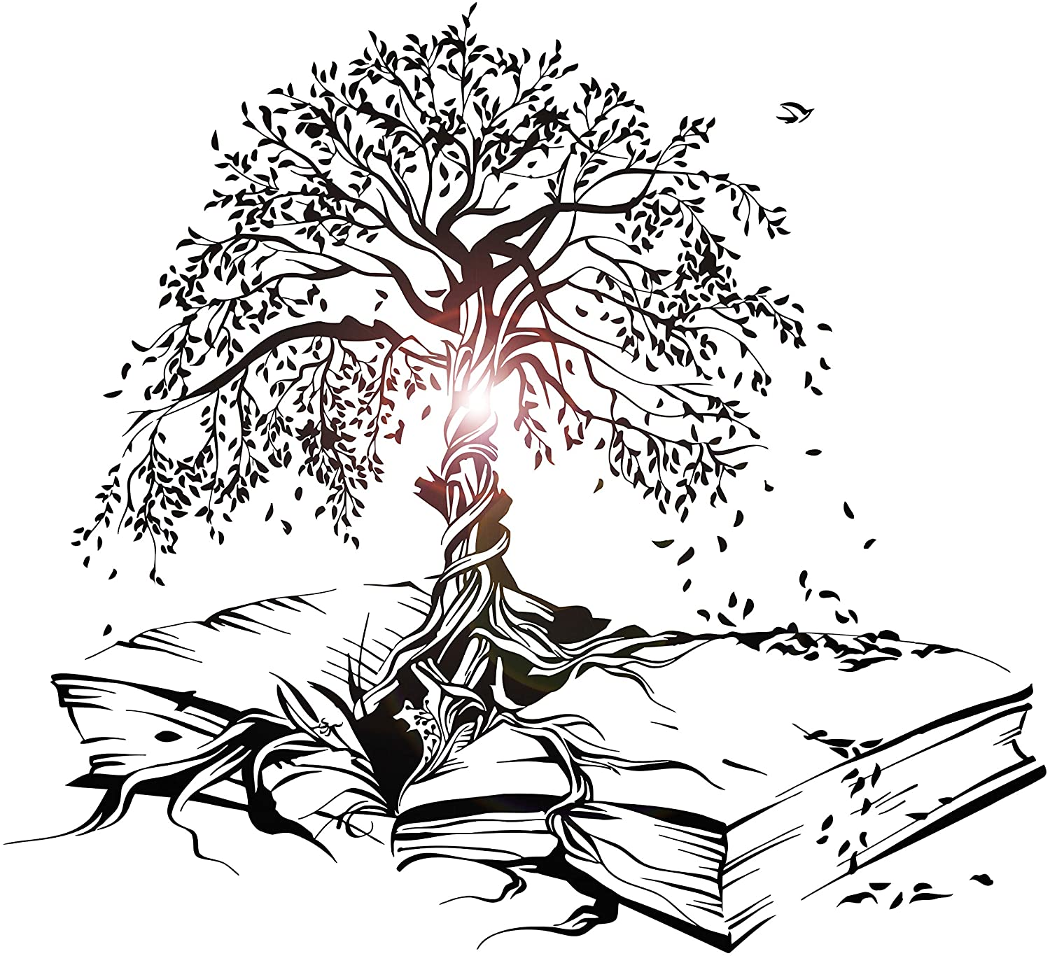 Vinyl Wall Decal Tree Book Leaves Knowledge Library Reading Room Stickers Mural Large Decor (ig5200)
