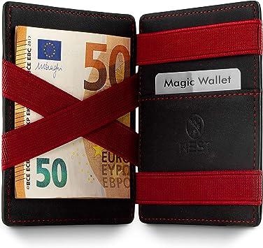 Disponible en 2 Couleurs Certificat RFID GenTo/® Macau Magic Wallet Portefeuille Mince avec Compartiment pour la Monnaie Protection NFC Cadeau pour Hommes et Femmes avec bo/îte Cadeau