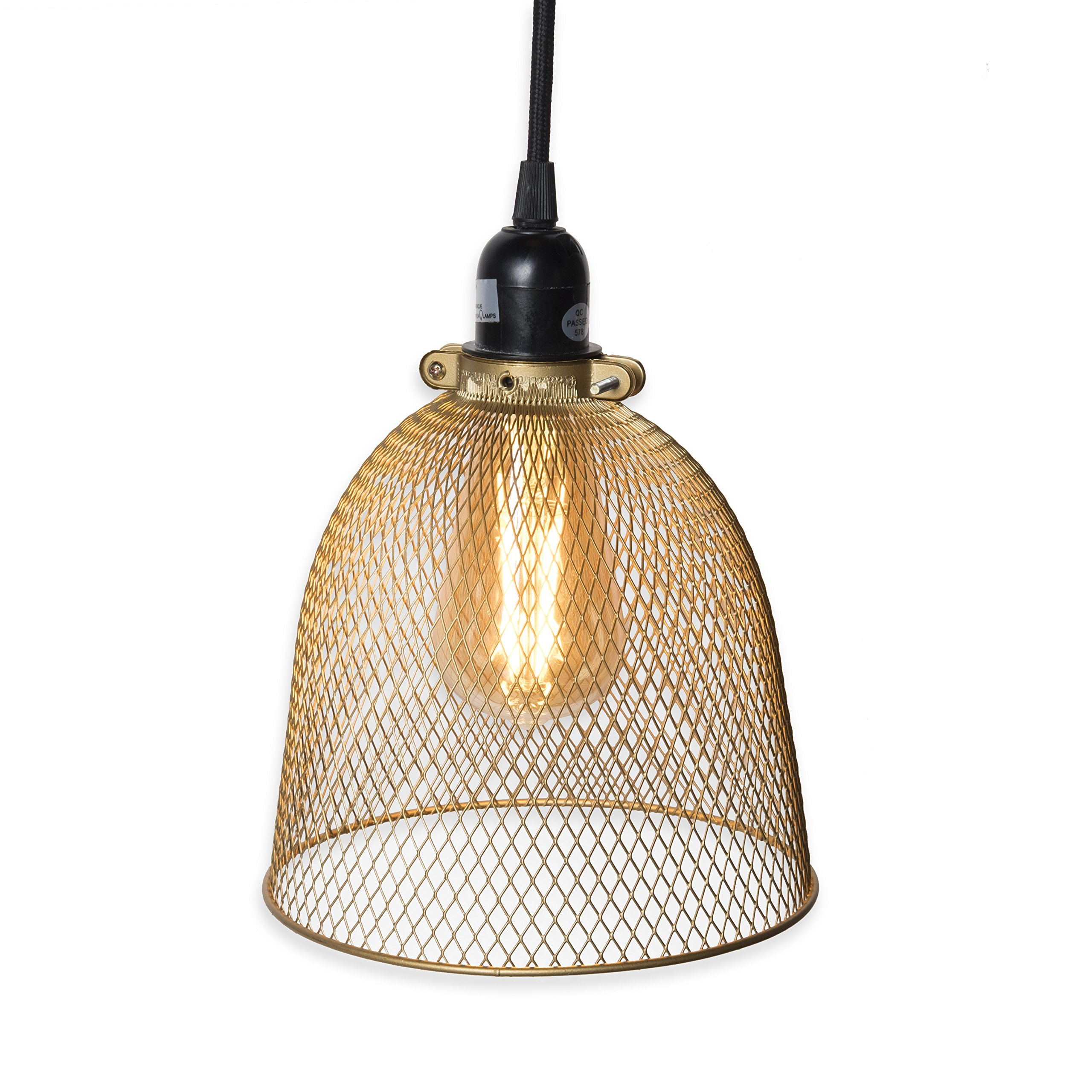 Rustic State Industrial Retro Style Mesh Wire Gold Cage Pendant Ceiling Lamp by Rustic State with 30-Watt Dimmable Edison LED Bulb and 15 Feet Toggle Switch Black Fabric Cord