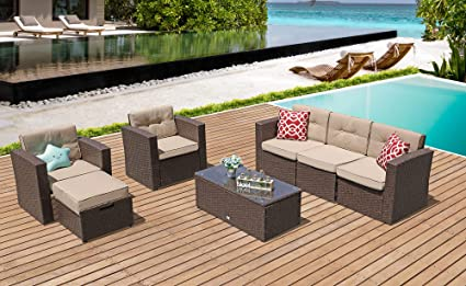 Amazon Com Patiorama Outdoor Patio Furniture 7 Piece Outdoor