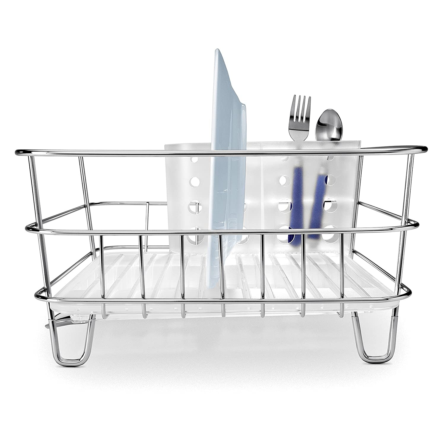 Amazon.com: simplehuman Kitchen Compact Wire Frame Dish Rack With ...