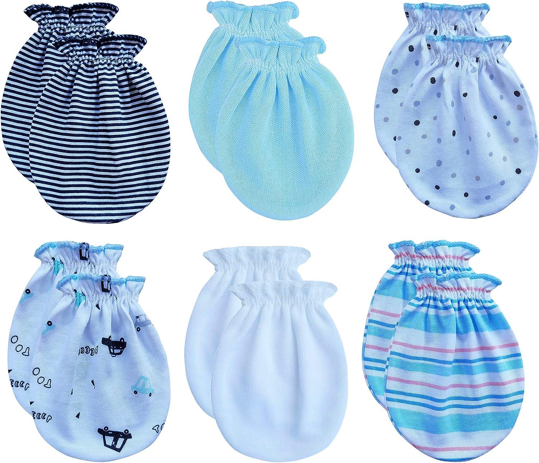 Newborn 0-6 Months, 6white+6pink RATIVE Newborn Baby Cotton Gloves No Scratch Mittens For 0-6 Months Boys Girls