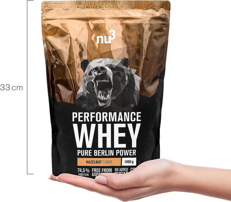 nu3 Performance Protein Whey - 1kg de proteína de suero en polvo sabor avellana - 74.5% contenido proteico (isolate) + aminoácidos BCAA - Batido para ...
