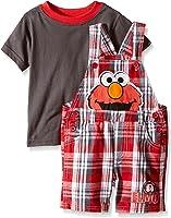 Sesame Street Little Boys' 2 Piece Plaid Elmo Shortall Set